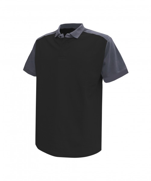 CESAR_Two-tone-polo-shirt_Black-Cement-grey_FRONT_1
